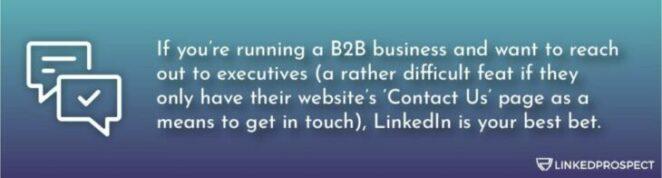 LinkedIn, Contact Us, B2B business on LinkedIn